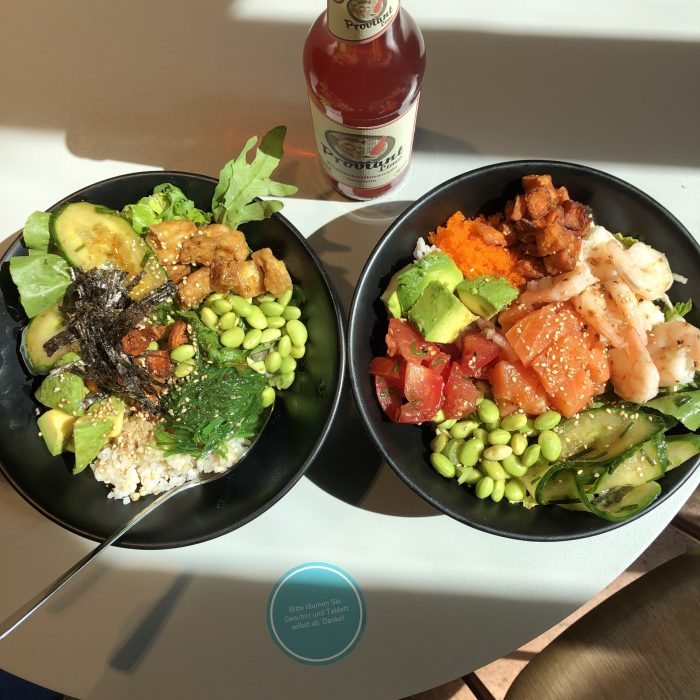 vegane pokebowl und Lachs pokebowl